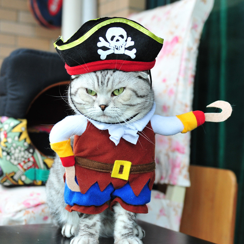 Funny Pet Cat Pirate Costume Suit Cat Clothes Corsair Puppy Dressing Up Dog Party Clothes For Cat Plus Hat Pajams