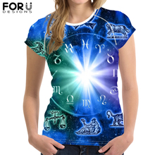 FORUDESIGNS 12 Constellations Print T Shirt for Women Customize Your Image Short Sleeve Female Cool t-shirt Casual Tops