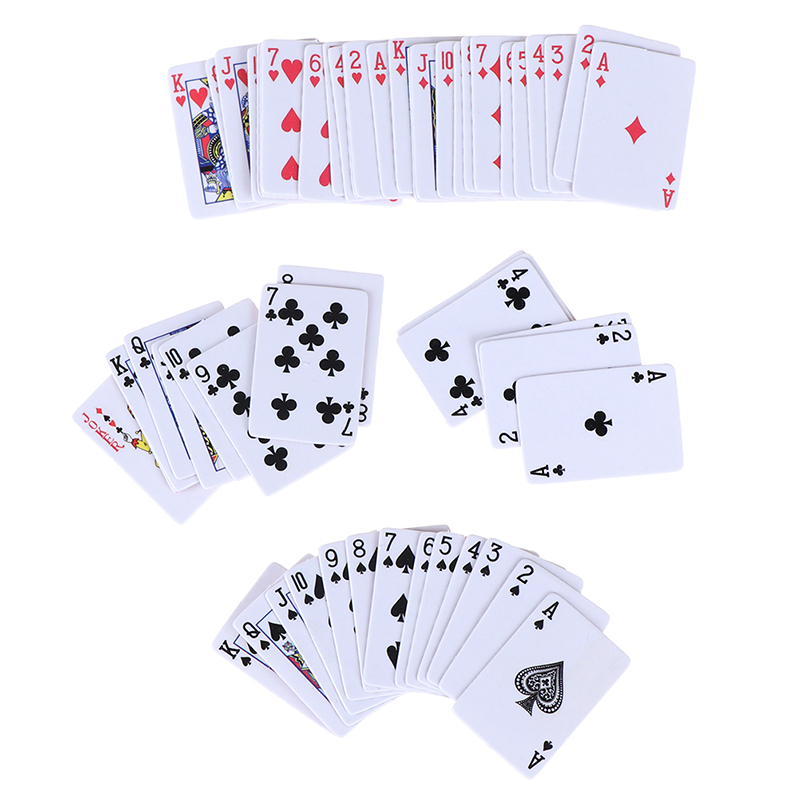 1set Funny Mini Poker Playing Cards Style Random Models Poler Cute Miniature Doll Toys Decorative 1:12 Dollhouse Accessories