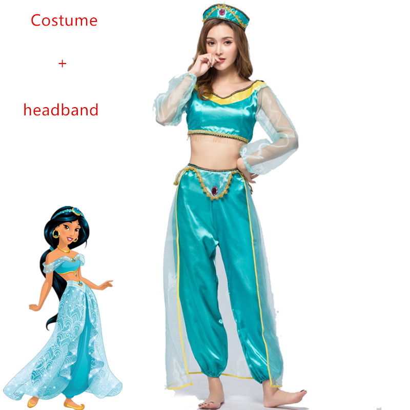 Female Aladdin's Lamp Jasmine Princess Costumes Cosplay For women Halloween Party Belly Dance Dress Indian Princess Costume