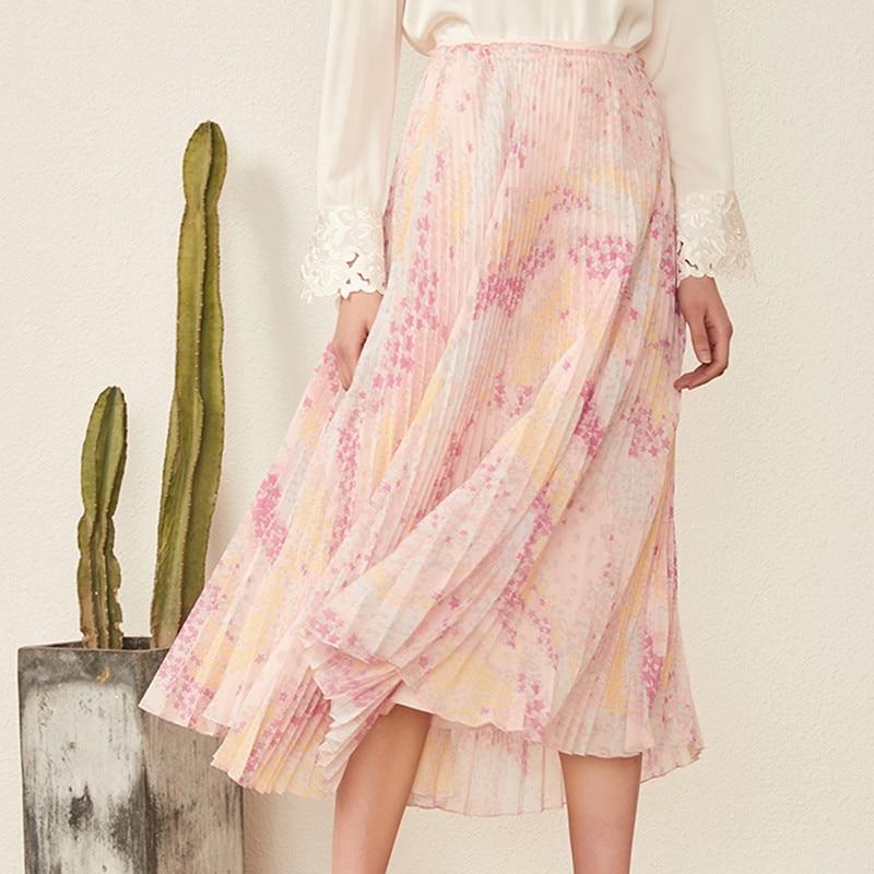 2019 New Women Pink Skirt Flower Print Pleated Midi Skirt