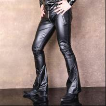 2f099eadb83831 New Men Casual Faux PU Leather Pants Matte Shiny Fashion Flares Pants  Elastic Soft Skinny Gay Zipper Pants Singer Stage Costumes