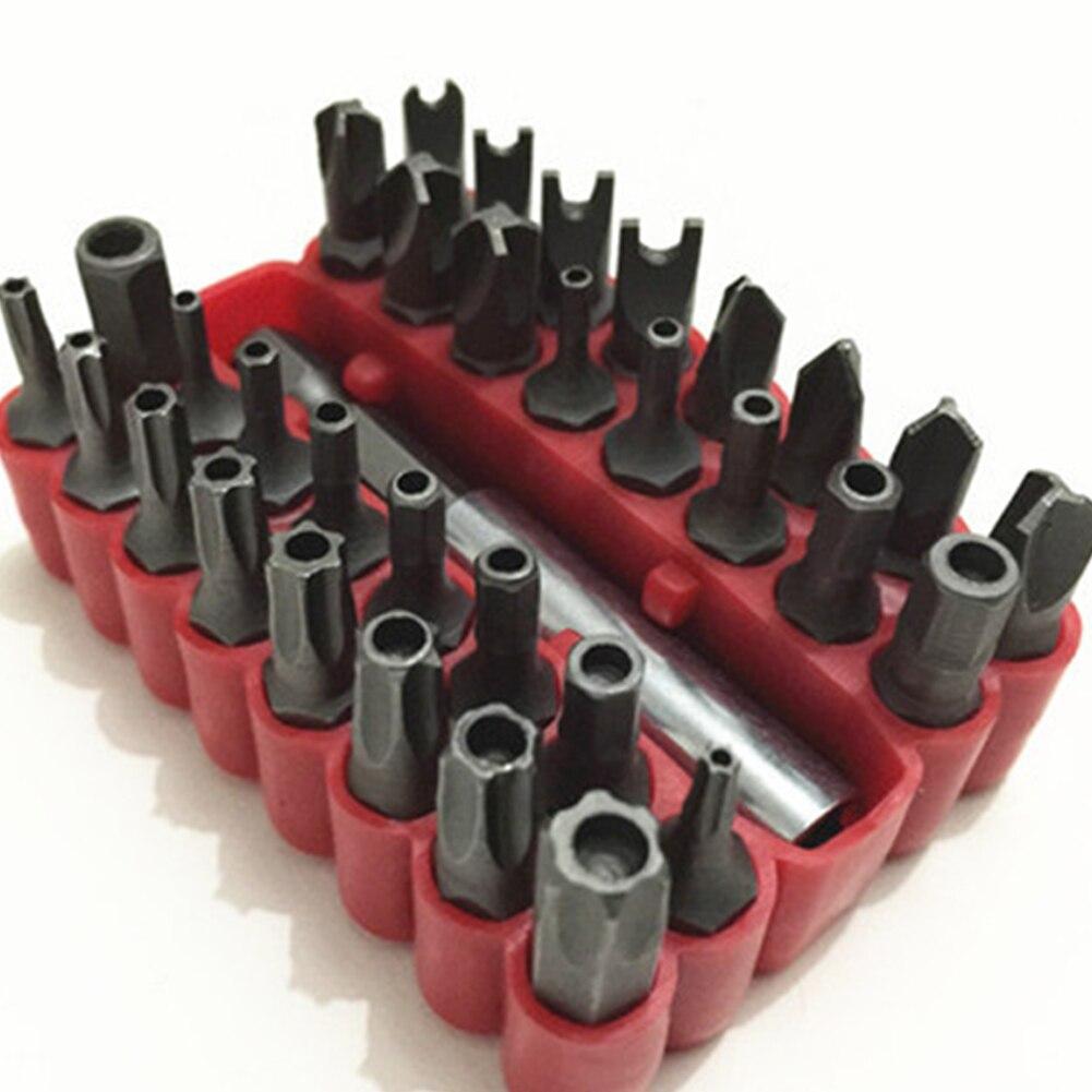 33 En 1 Destornilladores prueba CRV seguridad BIT SET con extensión magnética bit Torx hexagonal spanner carpintería herramientas