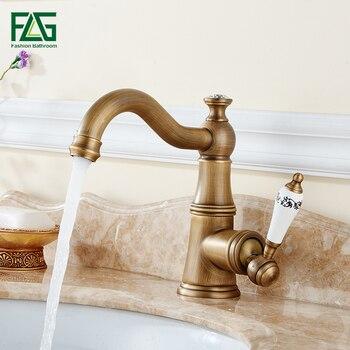 Basin Faucets Antique Brass Bathroom Sink Faucet Single Handle 360 Rotate High Spout Deck Mount Mixer Water Taps Taps 137-11A