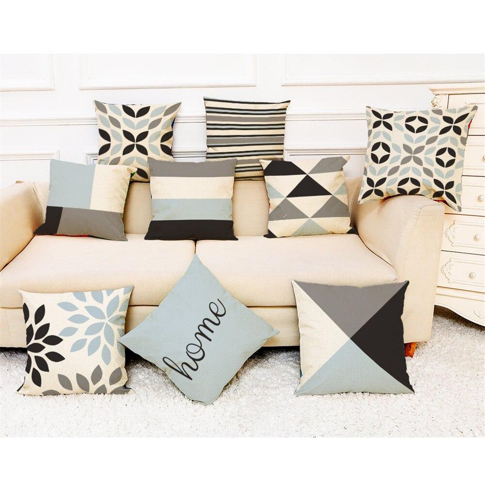 Home Simple Geometric Throw Pillowcase Pillow Covers Linen Printed  Washable Cotton Pillow Case Poszewki Na Poduszki #32810