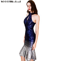 Mermaid Small Prom Dresses Women Halter Sequined Gradient New Banquet Sexy Slim Short Dinner Evening Dress Formal Gowns New