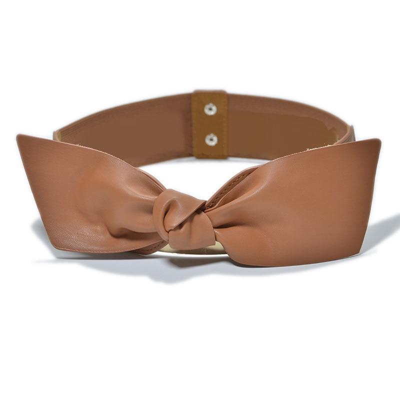 Women Bowknot Decoration Elastic Girdle Belt Wild Wide Imitation Leather Waist Belts KNG88