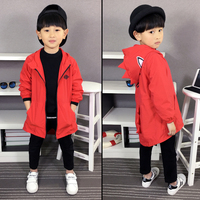 New autumn spring handsome little boy dinosaur jackets fashion trend with hat windbreaker coat