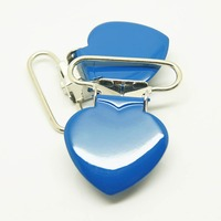 50pcs per lot 25mm blue pacifier clips metal heart suspender clips wholesale enamel suspender clips