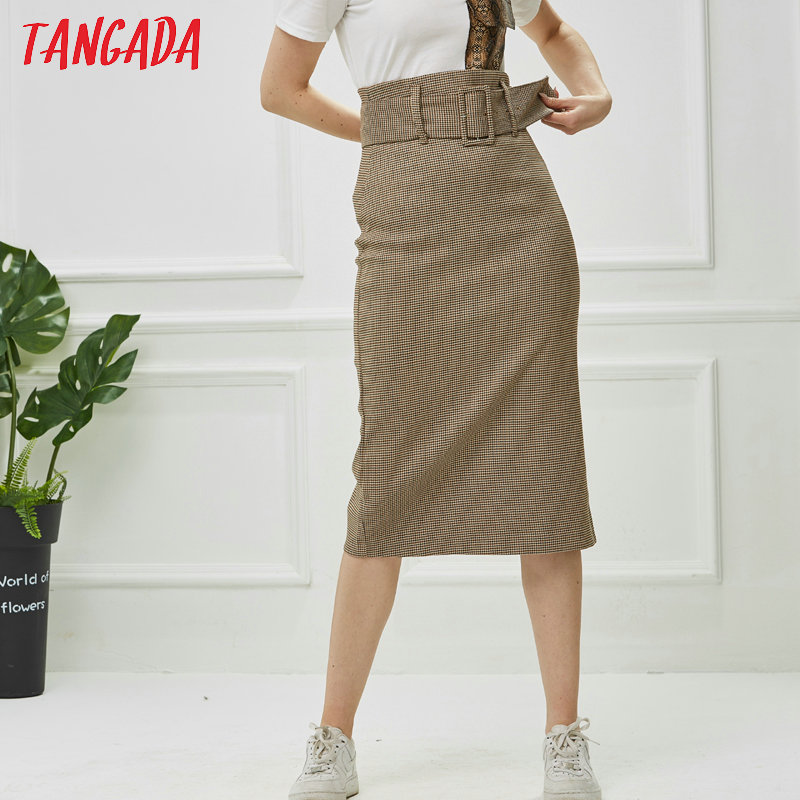 Tangada fashion women plaid skirt vintage work office ladies skirt with belt mujer retro mid calf skirts BE175 6
