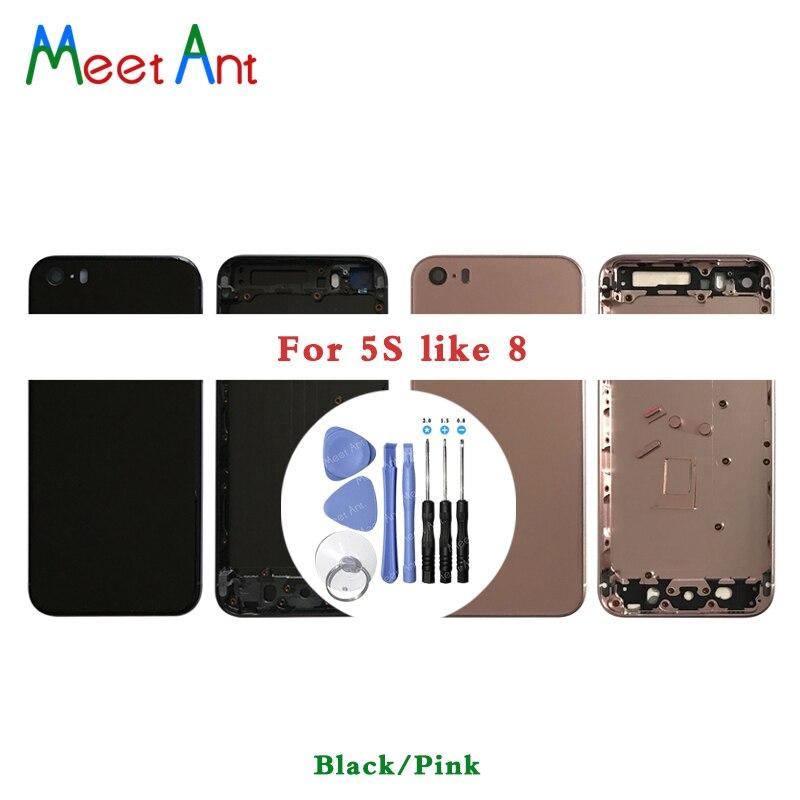 AAA Haute Qualité de Couverture Arrière Pour l'iphone 5 5G 5S comme 8 logement Batterie couverture Arrière Porte Châssis Cadre + batterie autocollant et À