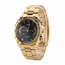 1PC Golden Luxury font b Women b font Men font b watch b font Golden Stainless