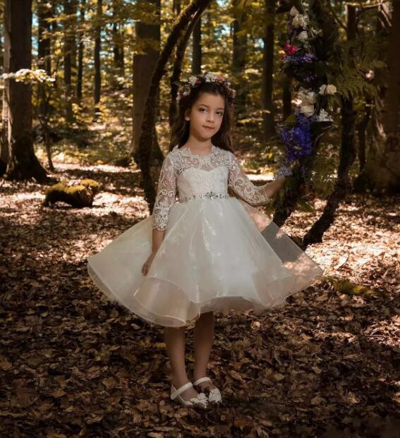 Ivory Crew Neck Flower Girls Dresses for Weddings Lace 34 Sleeves First Communion Dress Knee Length Custom Made