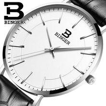 Швейцария BINGER мужчины часы люксовый бренд ультратонкий ограниченным тиражом Водонепроницаемый любителей кварцевые Наручные Часы B-3050M-12