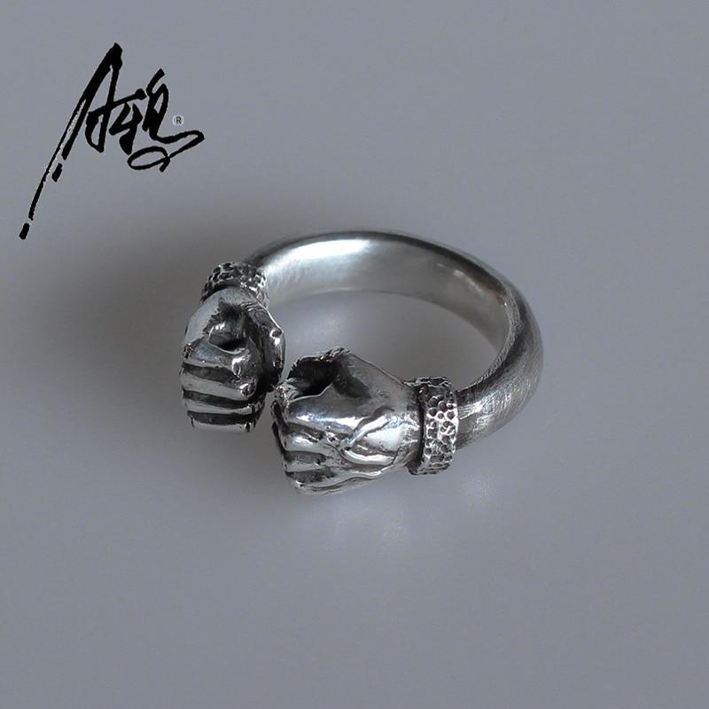 Personnaliser Main Power Fist Ring De Boxe pour Hommes Femmes Vintage 925 En Argent Sterling Solide Anneau Bijoux