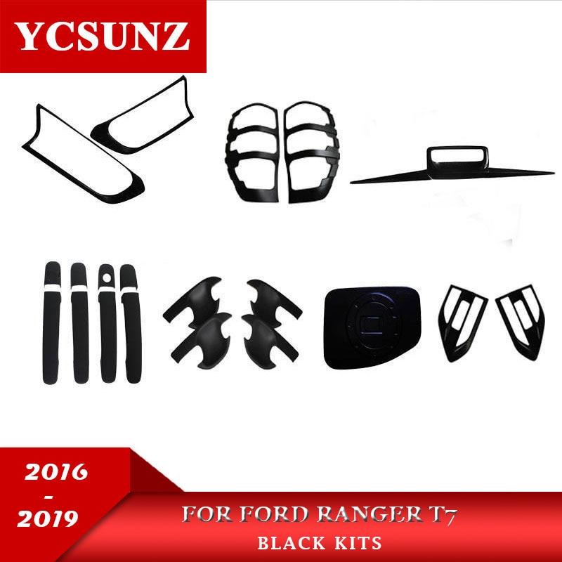 Pour Ford Ranger 2016-2019 Wildtrak Accessoires ABS Car Styling Noir Kit Complet Set Pour Ford Ranger Wildtrak 2017 ramassage Rangers