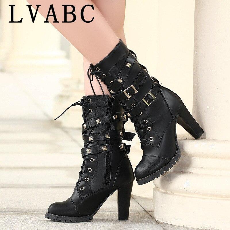 100% Wahr Lvabc 2019 High Heels Frauen Stiefel Plattform Niet Schuhe Lace Up Fashion Ankle Stiefel Winter Warme Weibliche Schuhe Große Größe 34-47