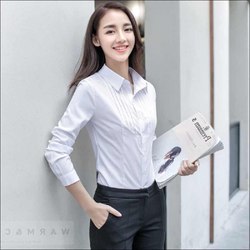 Resmi bluzlar kadın kadın uzun kollu Casual pamuk bluz kadın iş elbisesi beyaz pembe ofis gömlek artı boyutu 5XL