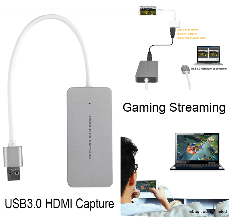 NEW USB 3.0 Capture HDMI to USB3.0 Game Live Streaming Video Capture Dongle w/ USB3.0 Cable For PS3 PS4 For XBox one For iPhone