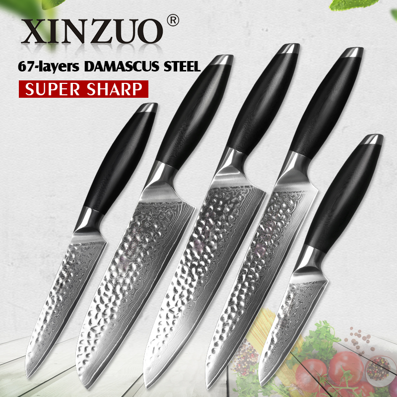 kitchen utilities showrooms xinzuo 5 pcs knives sets damascus stainless steel japan chef santoku paring cleaver knife g10 handle