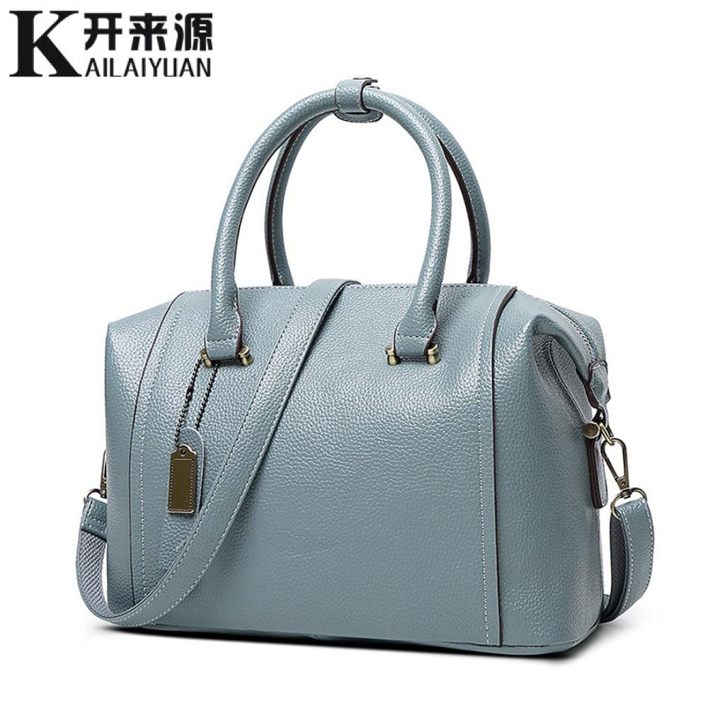 SNBS 100% Genuine leather Women handbags 2018 New female bag large capacity ladies shoulder handbag diagonal fashion wild bag
