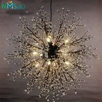 Modern Firework LED Pendant Light Clear Crystal Hanging Pendant Lamp for Dining Room Restaurant Living room Entryway Coffee Bar