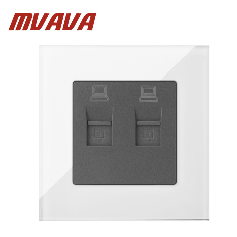 MVAVA Double PC Data Sokcet Luxury White Tempered Glass Double RJ45 Data Internet Computer Jack Outlet Wall Socket Free Shipping