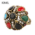 HOT 2016 Vintage Rings For Women Mosaic Colorful Resin Tibet  Alloy Gold Rainbow Flower Indian Jewelry