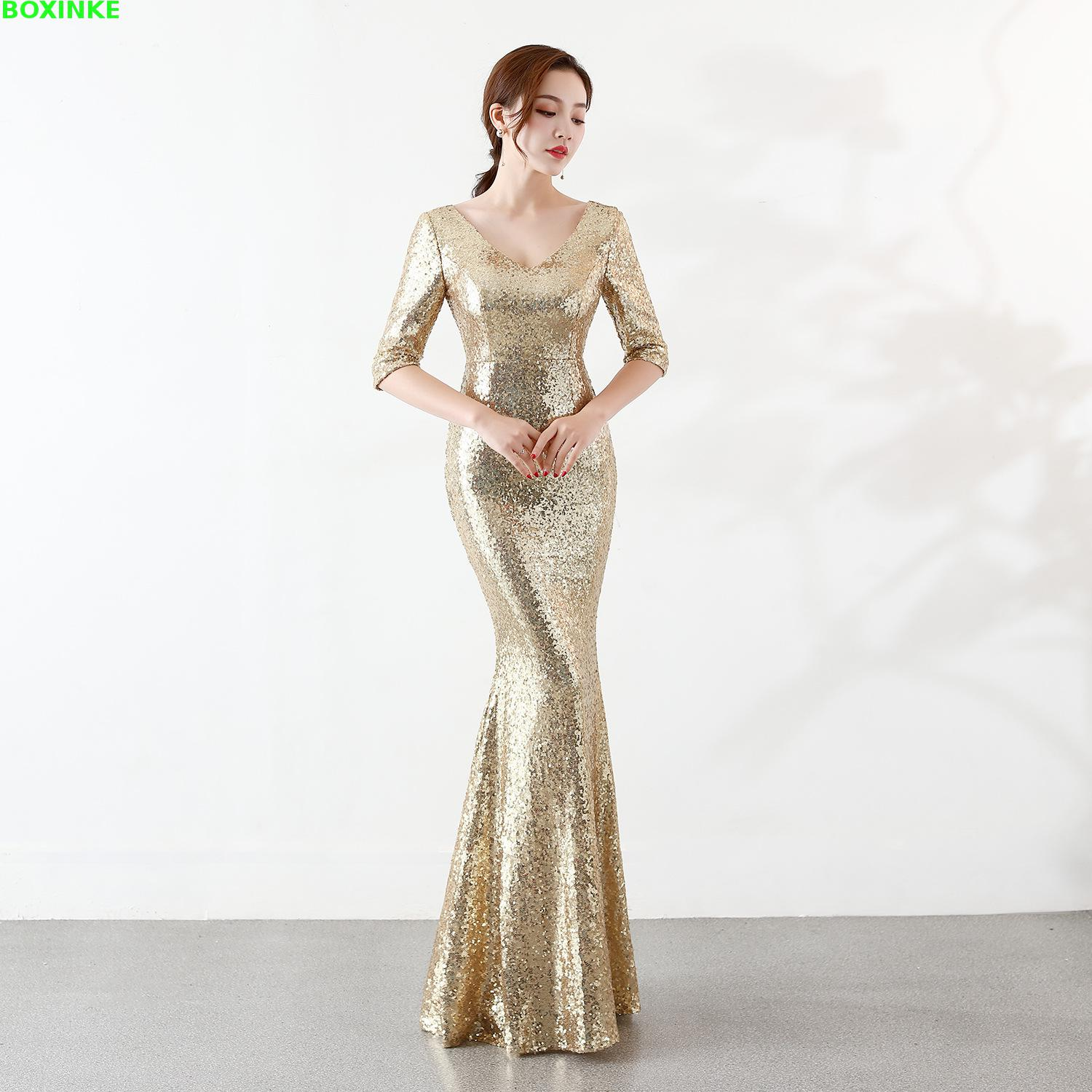 2019 Empire Dress Vadim Vestidos Mujer Maxi Dress Pure Sequined Embroidered V neck Sexy Long Noble