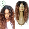 #1BT#30 Kinky Curly Two Tone Full Lace Wig Ombre Brazilian Virgin Lace Front Human Hair Wigs Middle Part For Black Women