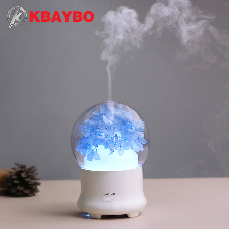 100ML Crystal Ball Design Humidifier With Preserved Fresh Flower Electric Aroma Essential Oil Diffuser With Fascinated Colorful Night Light