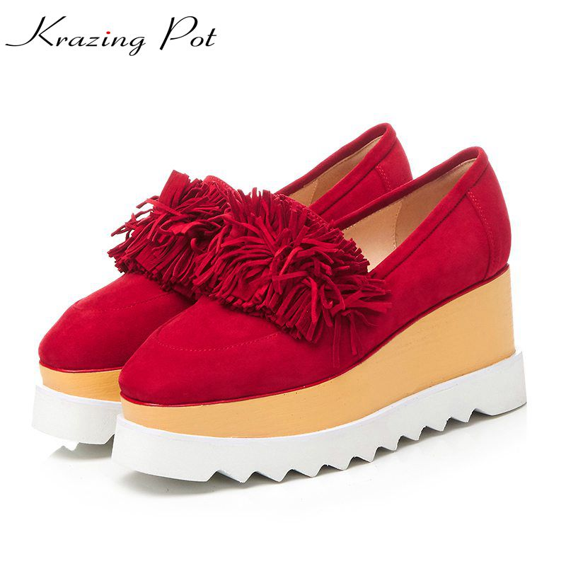 Krazing Pot sheep suede shoes women square toe slip on women pumps wedges superstar tassel flowers beauty increased shoes L01 fashion sheep suede tassel casual shoes square toe slip on women pumps wedges superstar flowers preppy style increased shoes l01