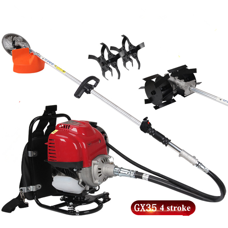 NEW MODEL GX35 MotorGrass Trimmer Brush cutteTiller attachment 4-stroke Big Back pack  3 in 1
