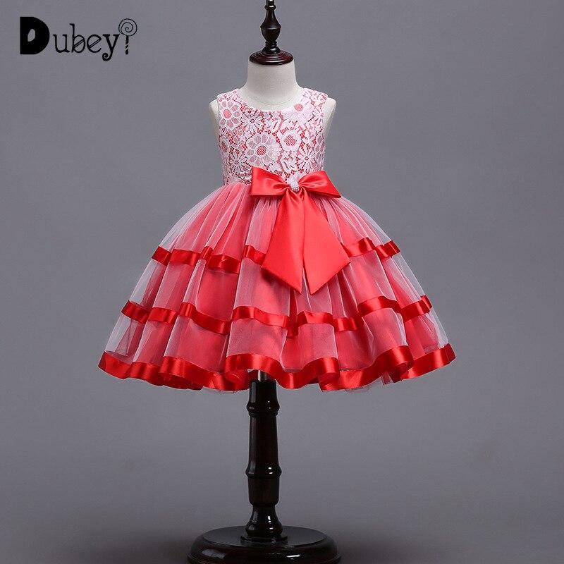 Adolescent fille dentelle gros nœud-noeud robe de soirée élégante couche robe de princesse pour la fête d'anniversaire de la fille enfants robes pour les filles