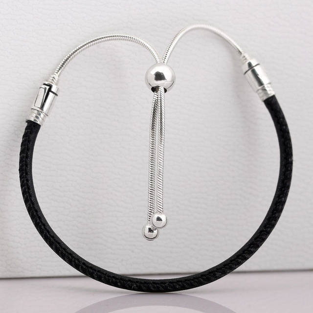 75b231e00e0 Moments Leather With Adjustable Sliding Clasp Bracelet Bangle Fit Bead  Charm Diy Europe Jewelry 925 Sterling Silver Bracelet