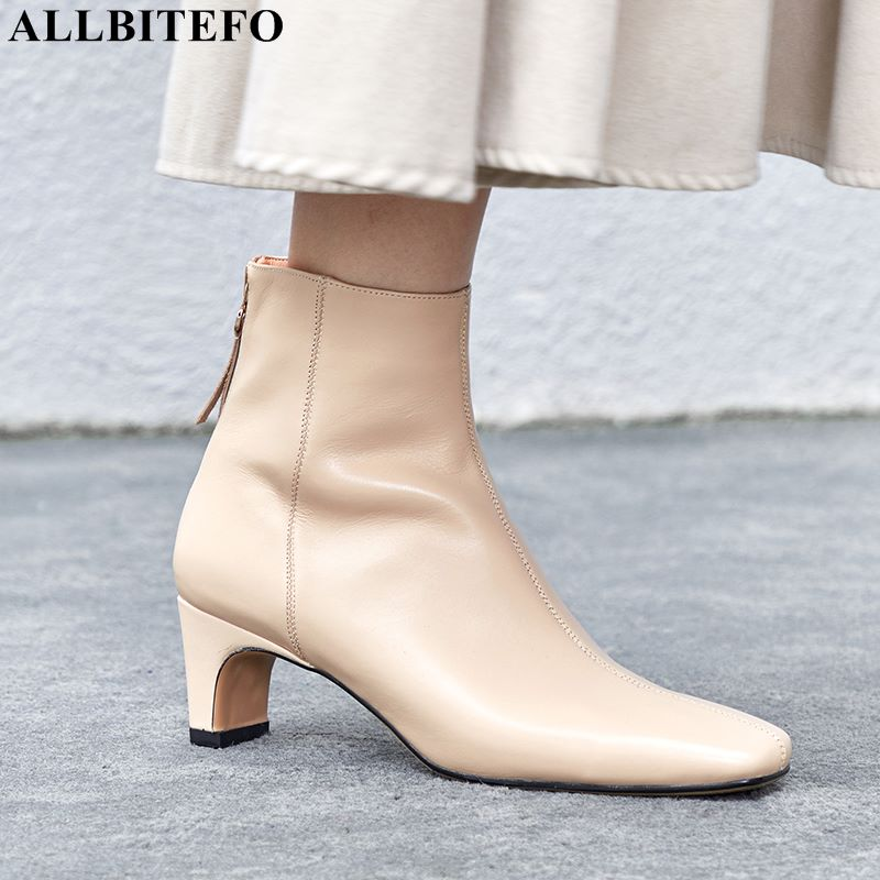 ALLBITEFO square toe genuine leather high heels ankle boots fashion brand women high heel shoes winter