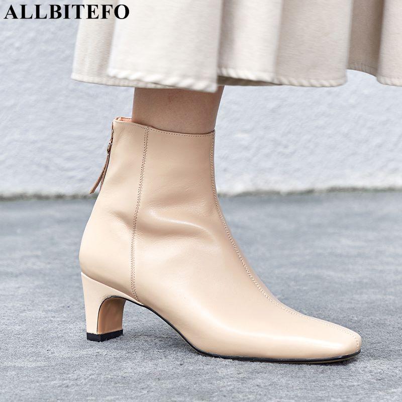 Allbitefo 스퀘어 발가락 정품 가죽 하이힐 발목 부츠 패션 브랜드 여성 하이힐 신발 겨울 여성 부츠 마틴 부츠-에서앵클 부츠부터 신발 의  그룹 1