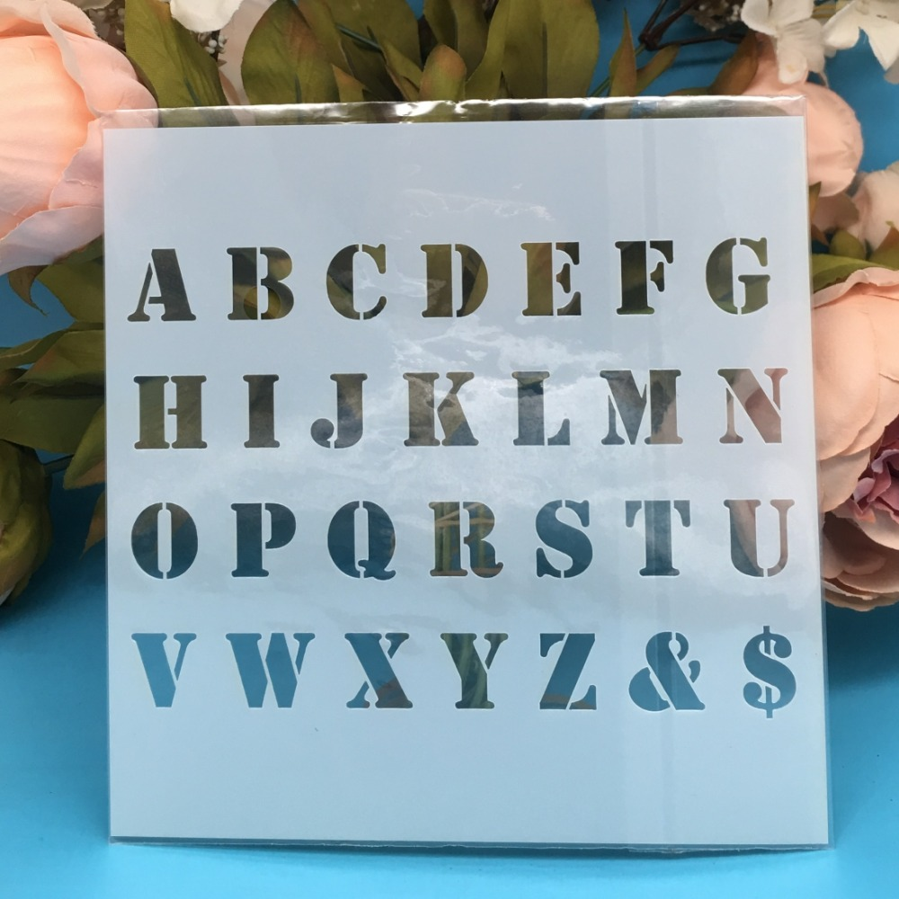 5.9inch New Alphabet Letters DIY Layering Stencils Wall Painting Scrapbook Coloring Embossing Album Decorative Card Template