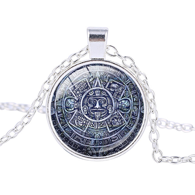 Online shop mayan culture women necklace aztec calendar personalized mayan culture women necklace aztec calendar personalized pendant necklace jewelry handmade silver plated chains ras de cou aloadofball Image collections