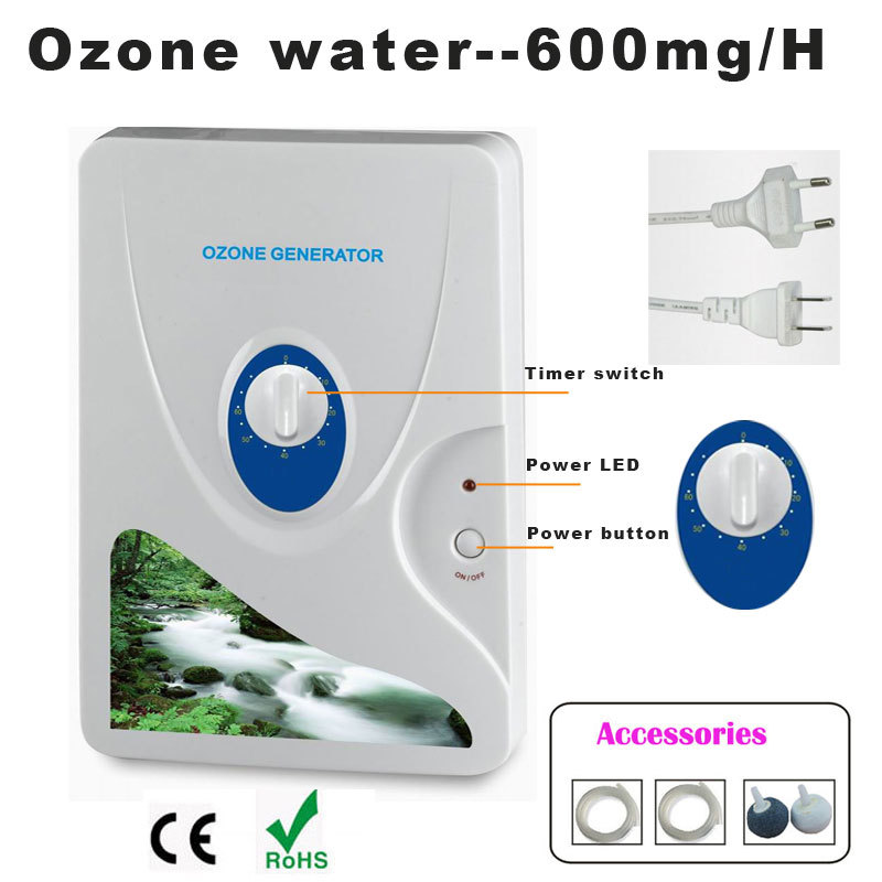 1 unid 600 mg generador de Ozono purificador de aire Ozonizador Ozono concentrador de oxígeno portátil purificador de agua esterilización