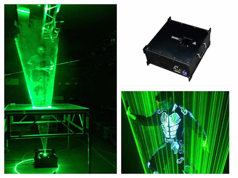 Flightcase+Laser man green 3w laser beam show system laser dance light disco dj club party concert bar music stage equipment