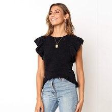 Casual Knit Solid Color T-Shirt Women's Ruffle Sleeve O-Neck Sleeveless T-Shirt Femme Fashion Black T-Shirts 2019 Summer все цены