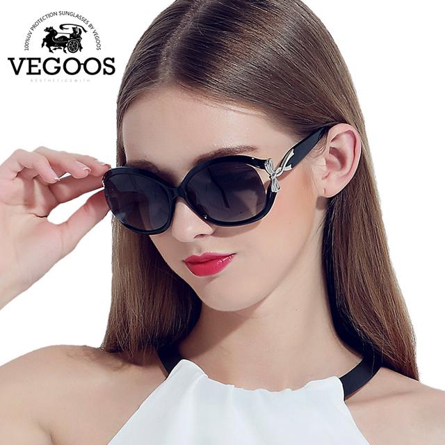 Vegoos new polarizadas óculos de sol das mulheres óculos de sol estilo estrela grande quadro óculos de marca designer de moda rodada rosto #9001