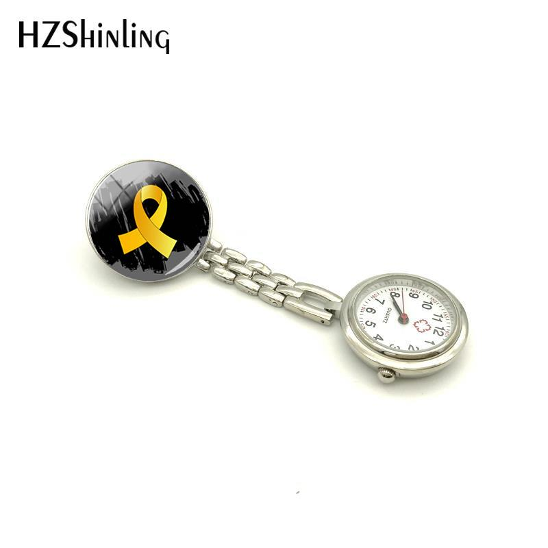 c455aaa435e 2018 New Childhood Cancer Awareness Nurse Watch Gold Ribbon Watch Nurses  Silver Glass Art Jewelry Nurse Table Pocket Watch-in Brooches from Jewelry  ...