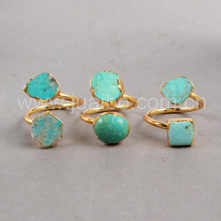 CAN PASS GIS CHECK Vintage Natural Turquoise Ring 24K Gold