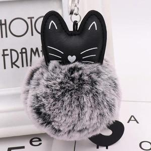 Image 1 - 10 개/몫 여자 패션 쥬얼리 Keychains 솜털 고양이 귀여운 펜 던 트 키 링 여성 가방 자동차 장식