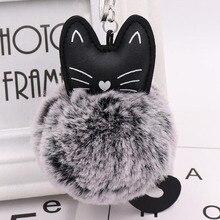 10 יח\חבילה בנות תכשיטים מחזיקי מפתחות פלאפי חתול חמוד תליון מפתח טבעת עבור נשים שקיות רכב קישוט