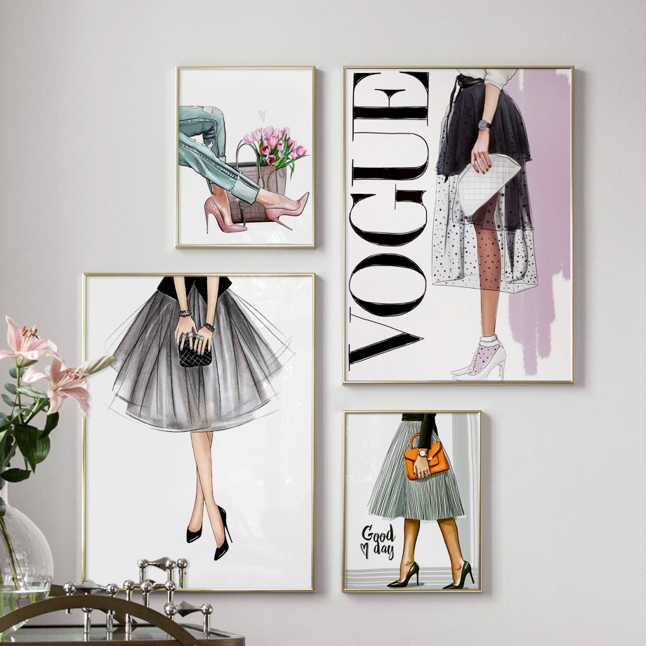 Fashion Super Model Vogue Girl Handbag Wall Art Canvas Painting Nordic Posters And Prints Wall Pictures For Living Room Decor