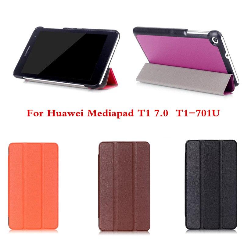 CY Karst Tri-fold Folio Ultra Slim Stand PU Leather Case Skin Shell Cover For Huawei Mediapad T1 7.0 T1-701U Tablet PC