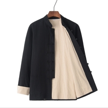 PLus size 4XL Men's Casual Kung Jacket Autumn Mandarin Collar Coat Male Long Sleeve Wu Shu Jacket Double-deck Cotton Coat